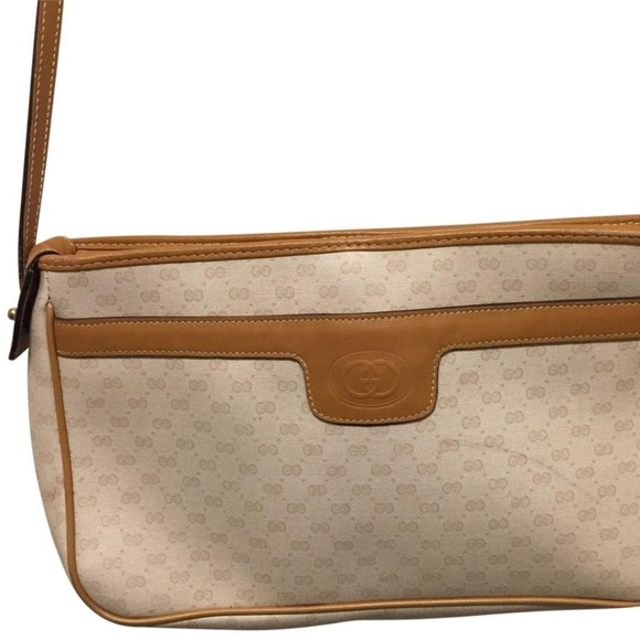 318ba52eabac Gucci Handbags - GUCCI Vintage Beige/ Tan Signature on Coated Canva